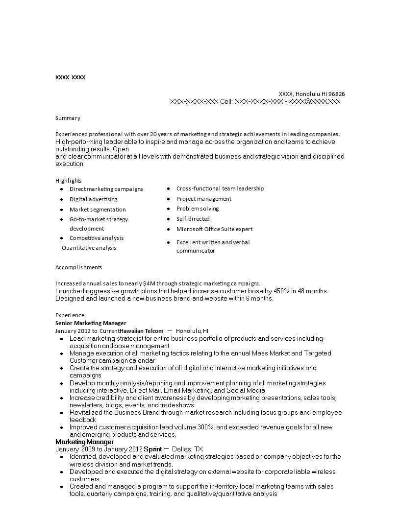免费Senior Marketing Manager Resume | 样本文件在allbusinesstemplates.com
