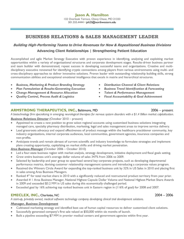 Sales And Marketing Manager Resume Sample Templates At