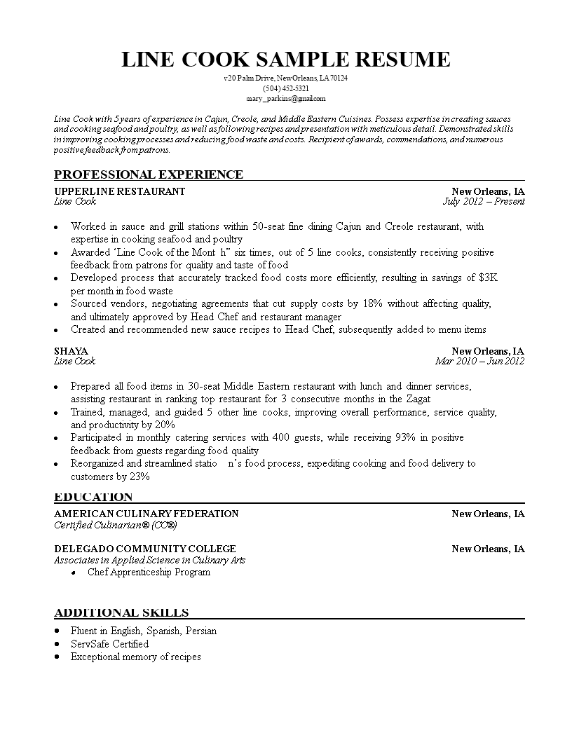 Free Line Cook Resume Sample | Templates at allbusinesstemplates.com