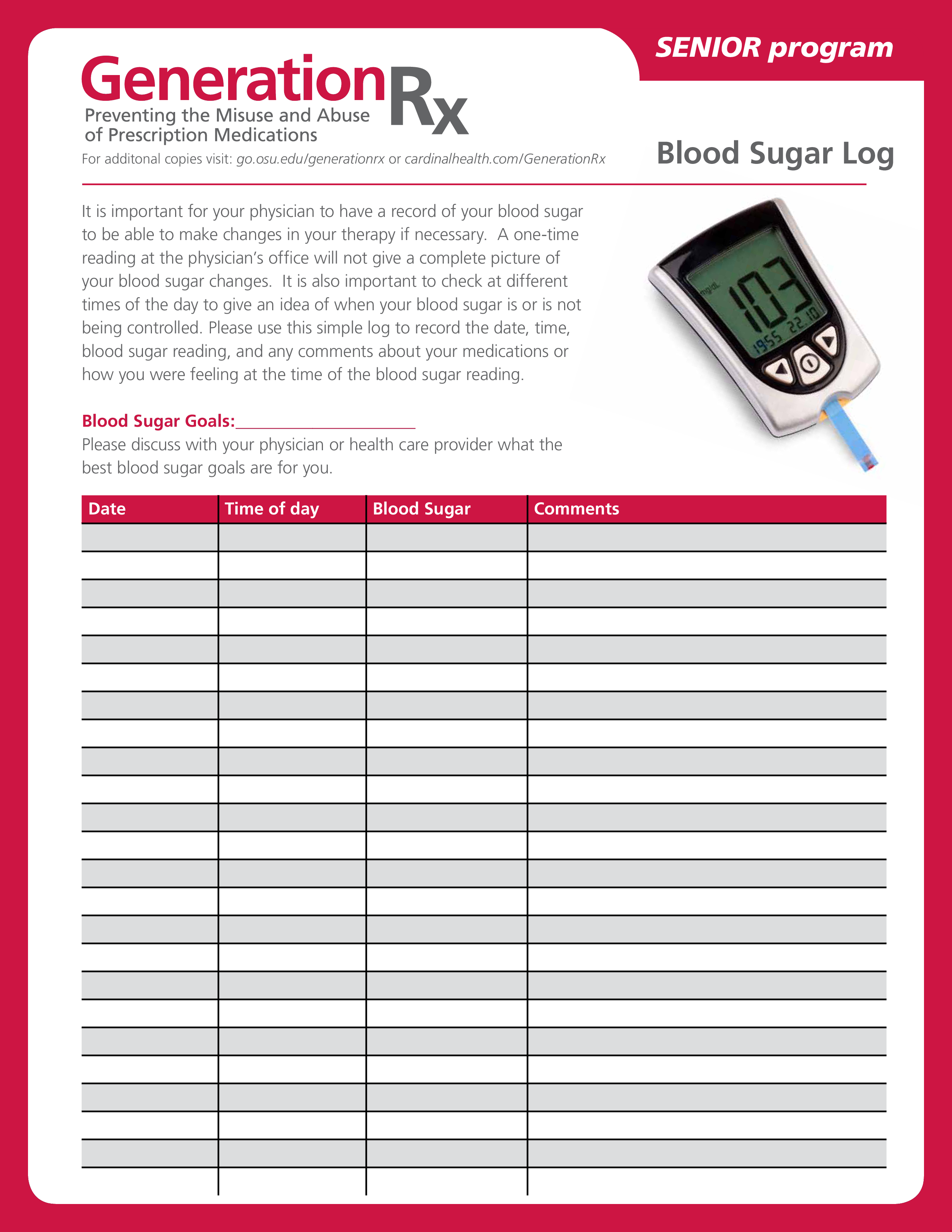 Free Daily Blood Sugar Log Templates At Allbusinesstemplates