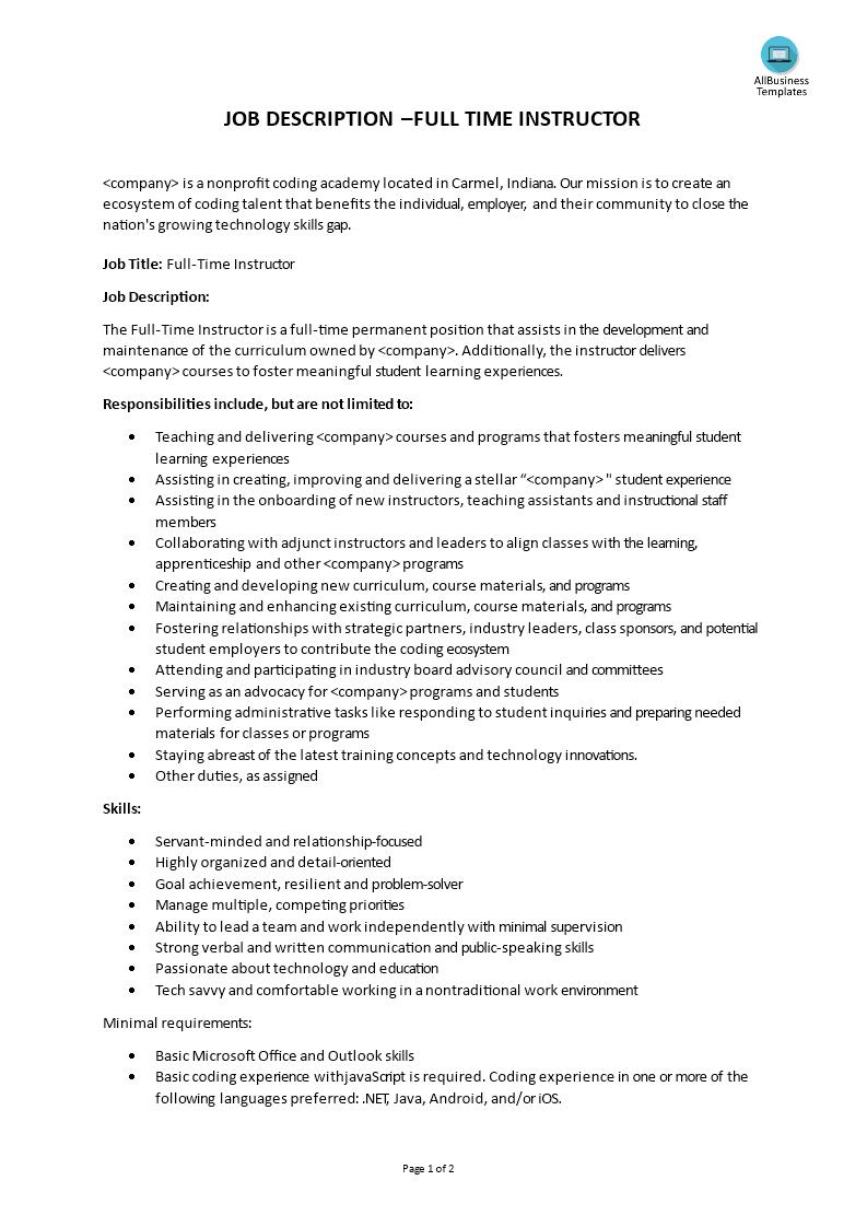 full instructor job description templates at