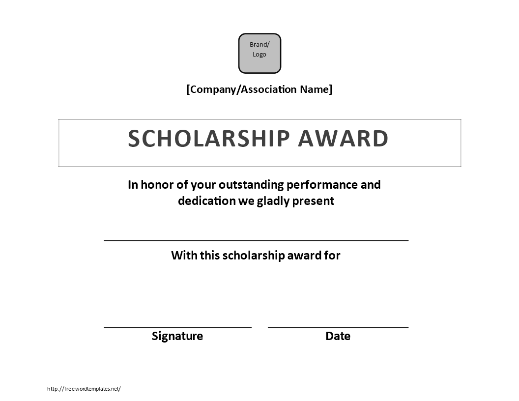 Free Scholarship Certificate Award Templates At