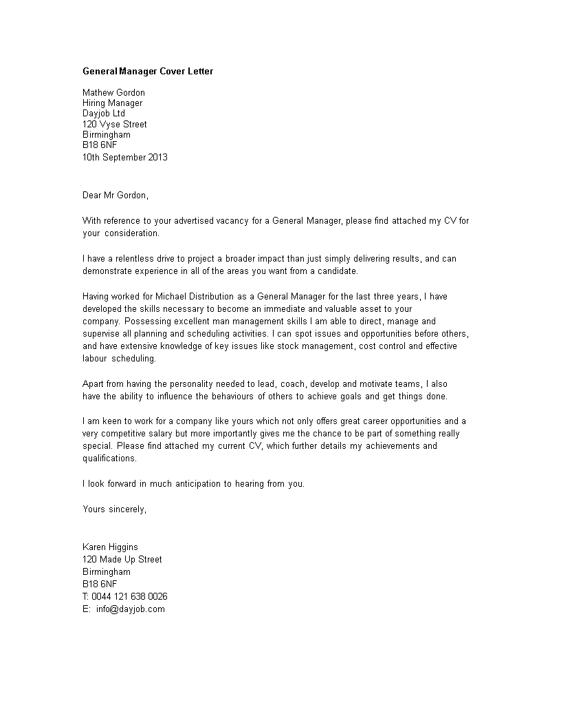 General Manager Cover Letter Word | Templates at ...