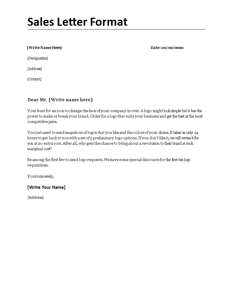 Free Sales Letter Format Templates At Allbusinesstemplates Com