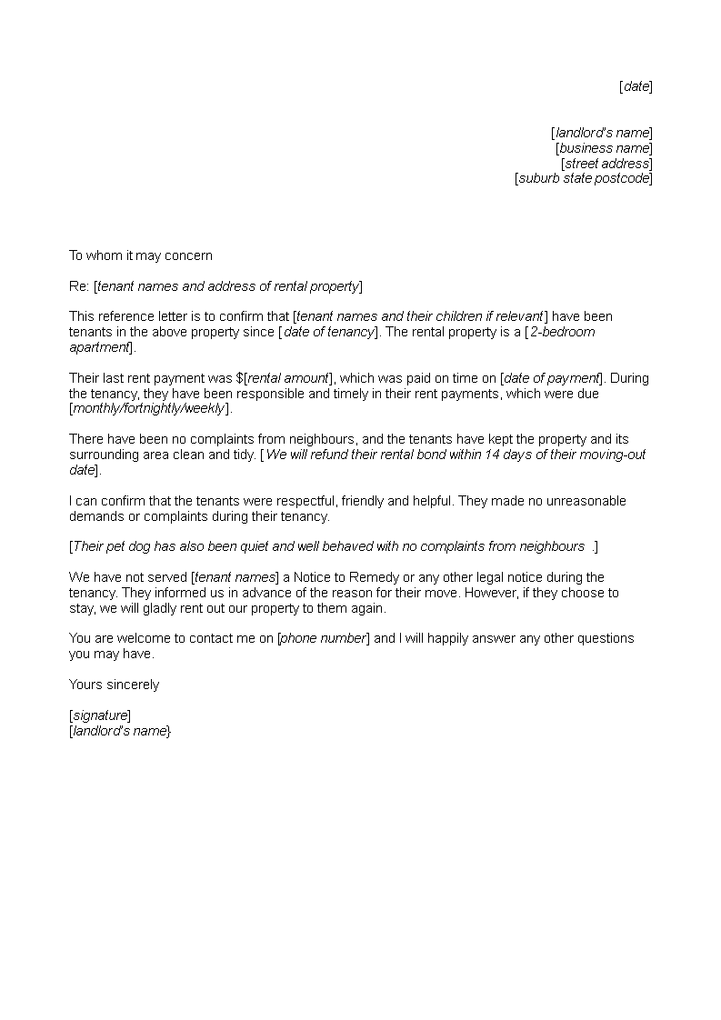 Free landlord tenant reference letter templates at landlord tenant reference letter main image download template expocarfo Gallery