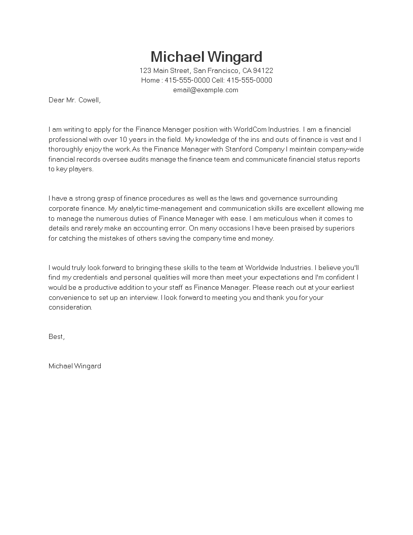 job application letter finance manager main image download template