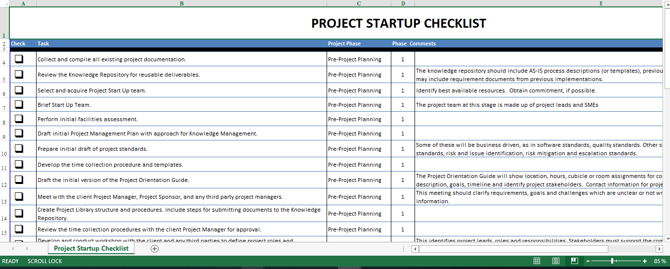 project manager checklist excel