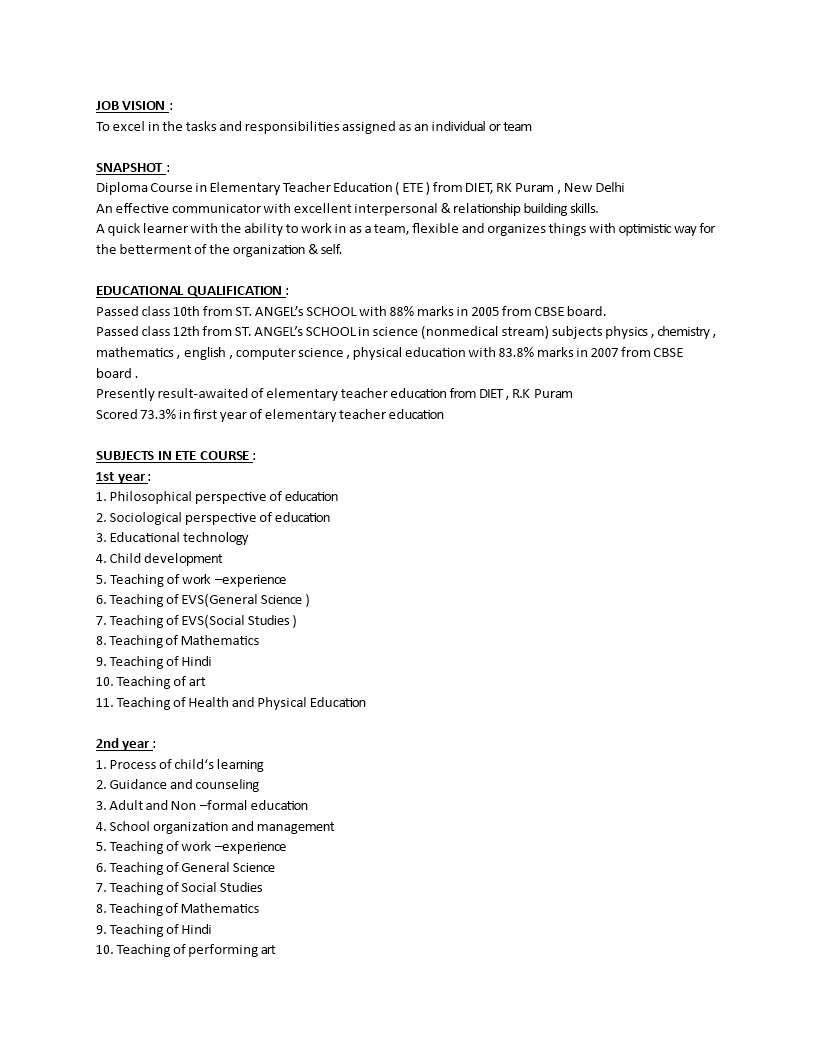 free best resume format for fresher teacher templates at