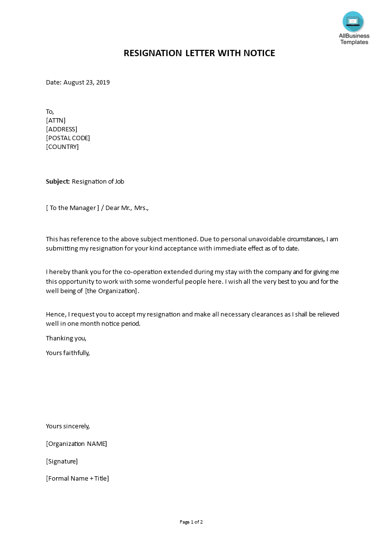 resignation letter format with notice period main image