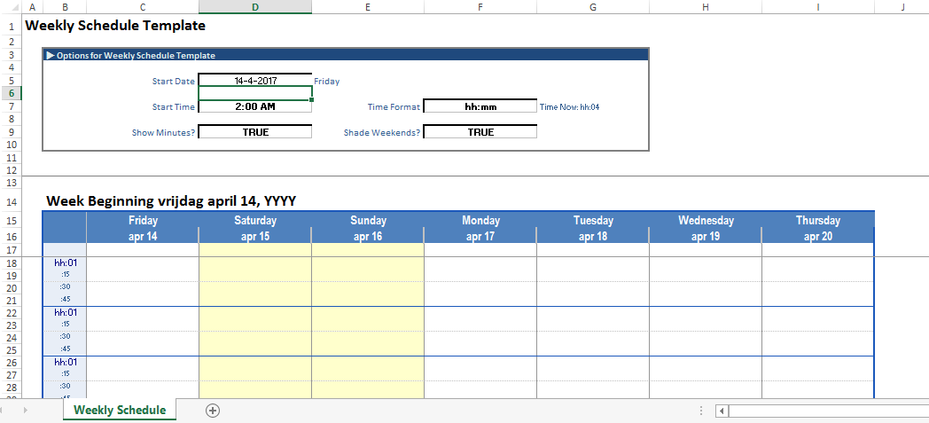 Free Weekly Schedule Calendar Excel Template Templates At