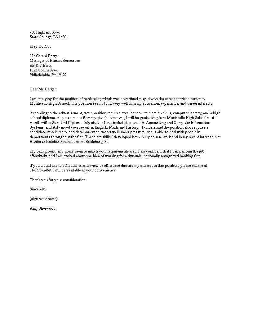 Bank Job Cover Letter Sample Templates At Allbusinesstemplates Com