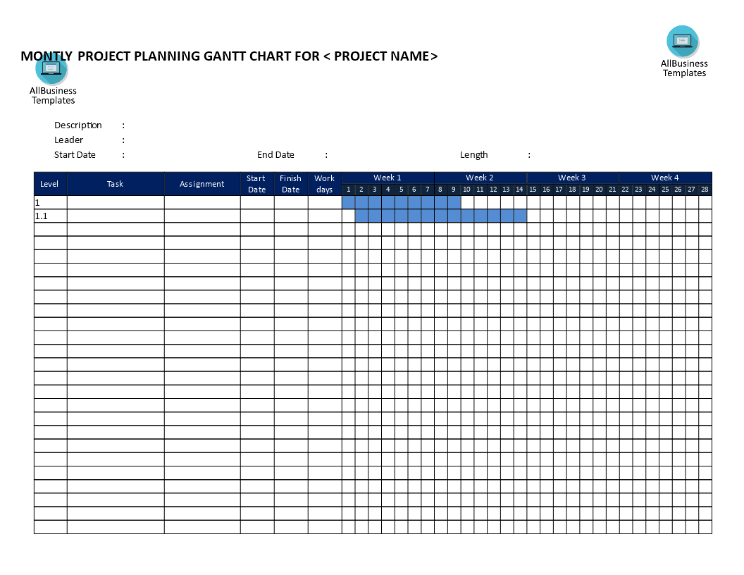 gantt chart weekly based template main image
