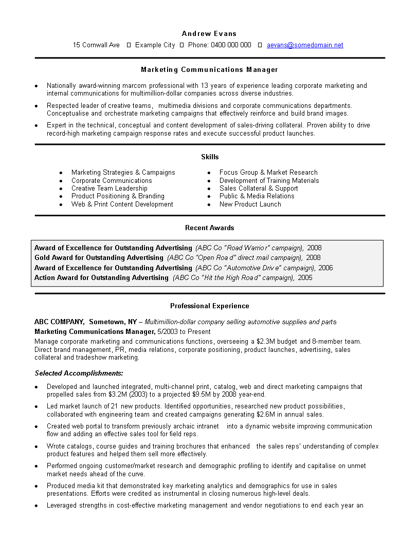 free professional work experience resume templates at