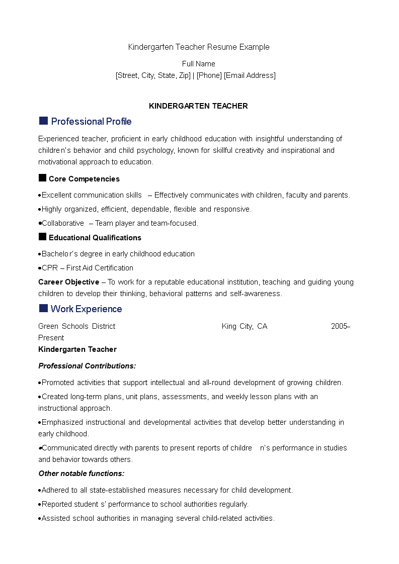 free kindergarten teacher resume templates at