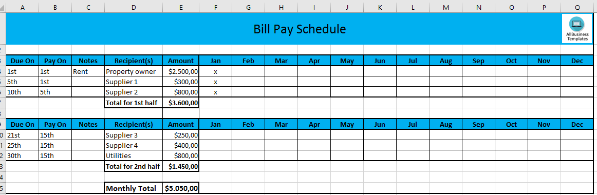 Monthly Payment Schedule In Excel Main Image Download Template  Monthly Payment Template