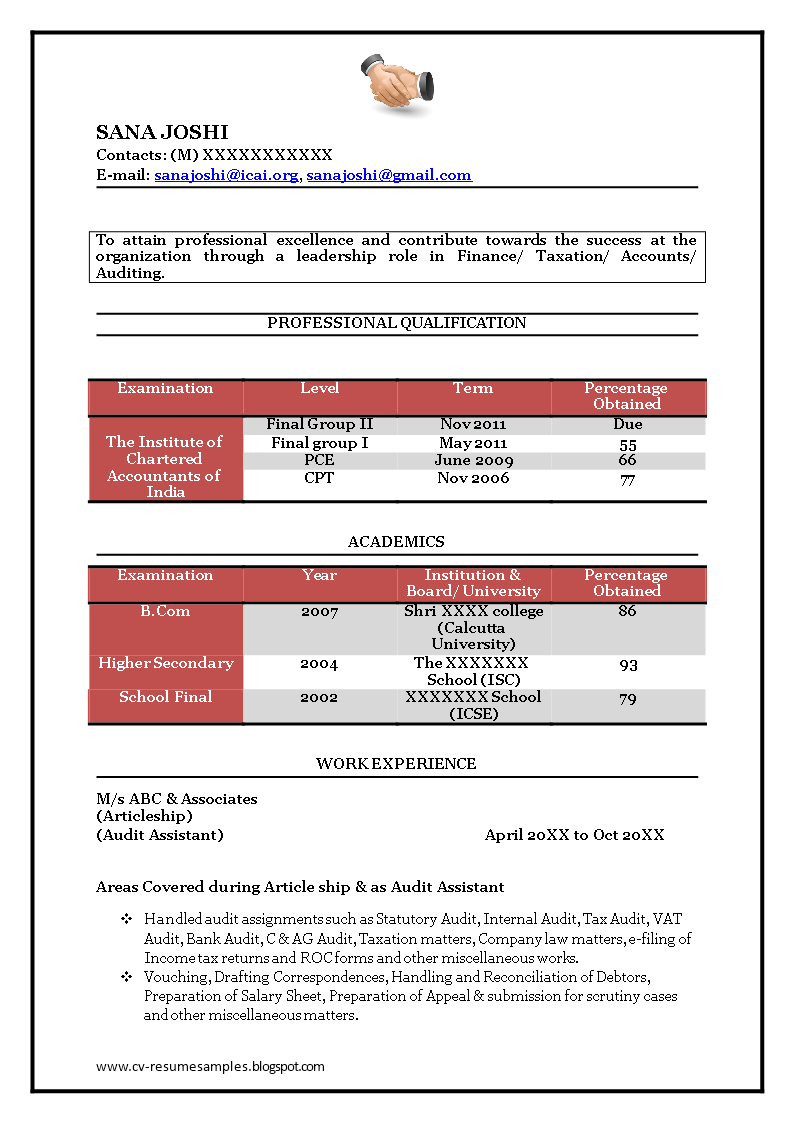 Free Fresher Accountant Resume Template Templates At