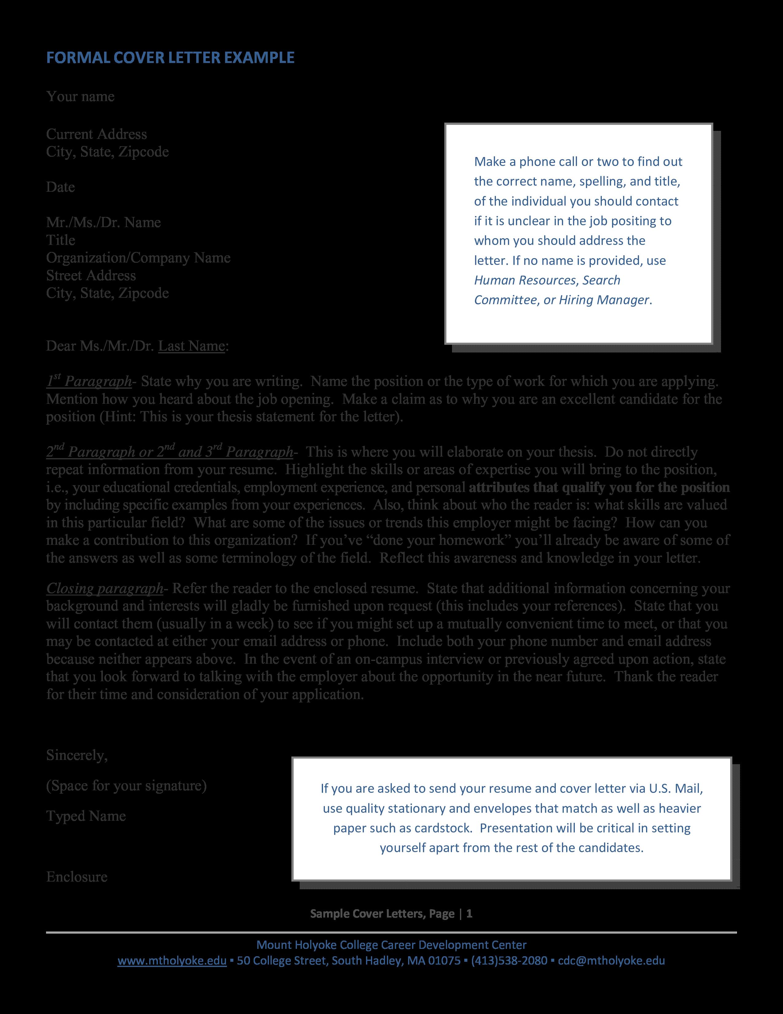 Sample Formal Cover Letter
