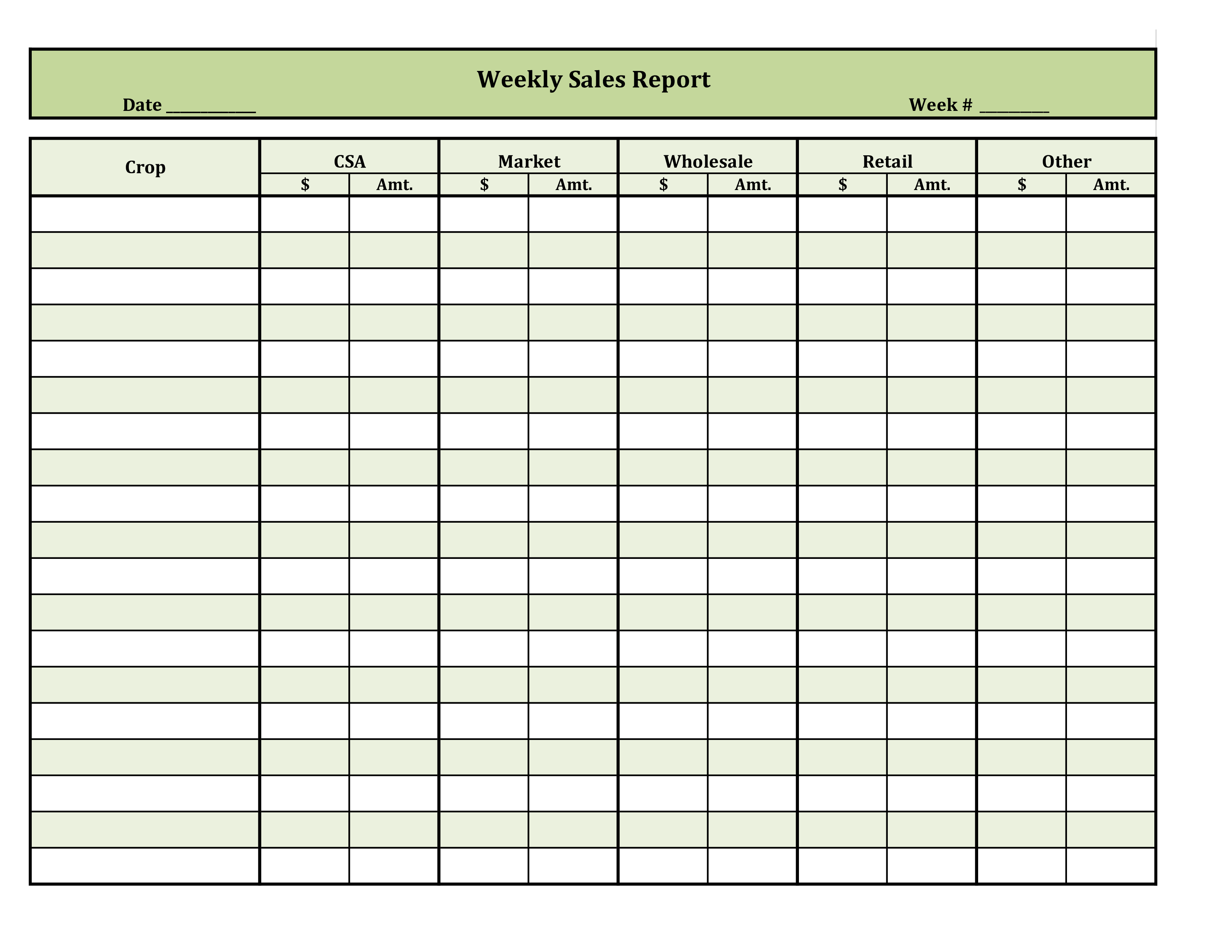Free Weekly Retail Sales Report Templates At Allbusinesstemplates Com
