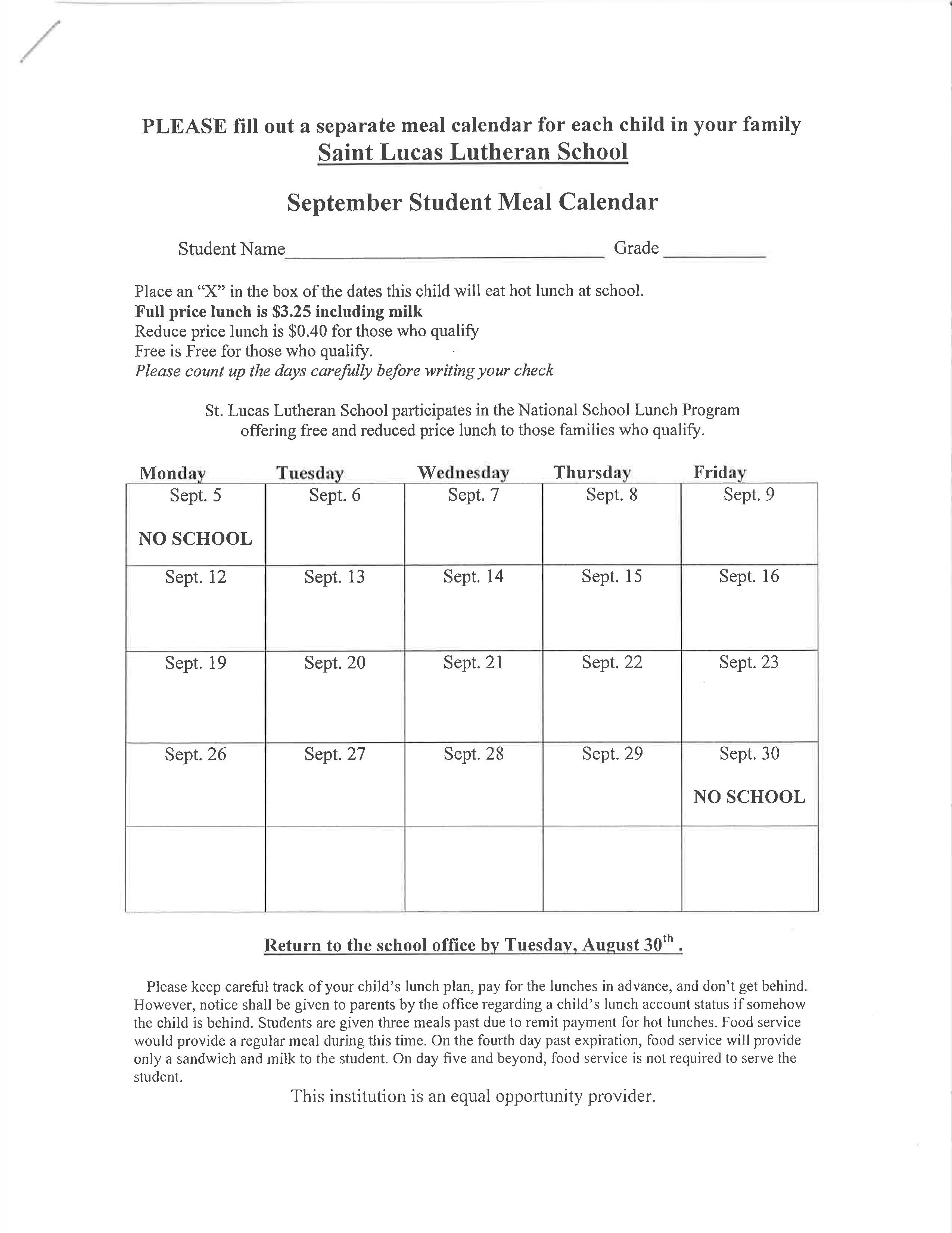 free school meal calendar templates at