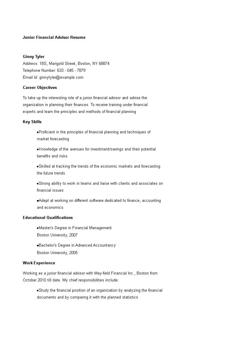 junior financial advisor resume