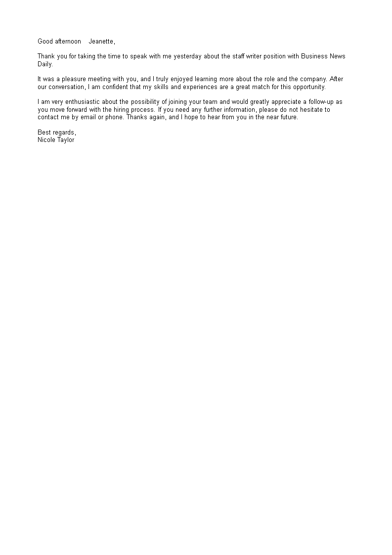 Free Business Interview Thank You Letter Example Templates At