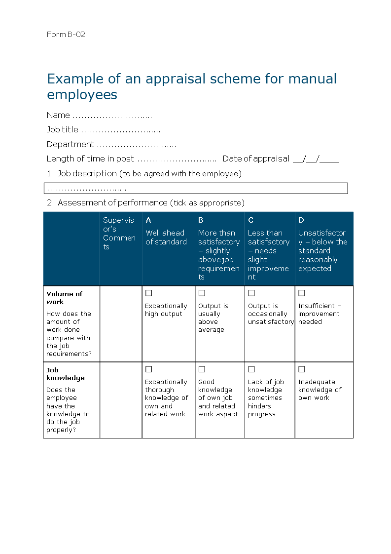 Free Word Appraisal Form For Manual Workers Word Templates At