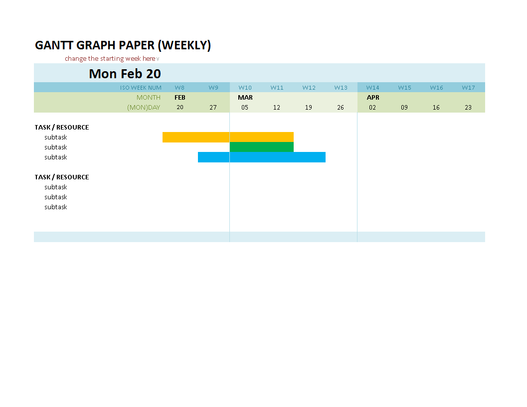 Gantt Chart MS Excel Template main image