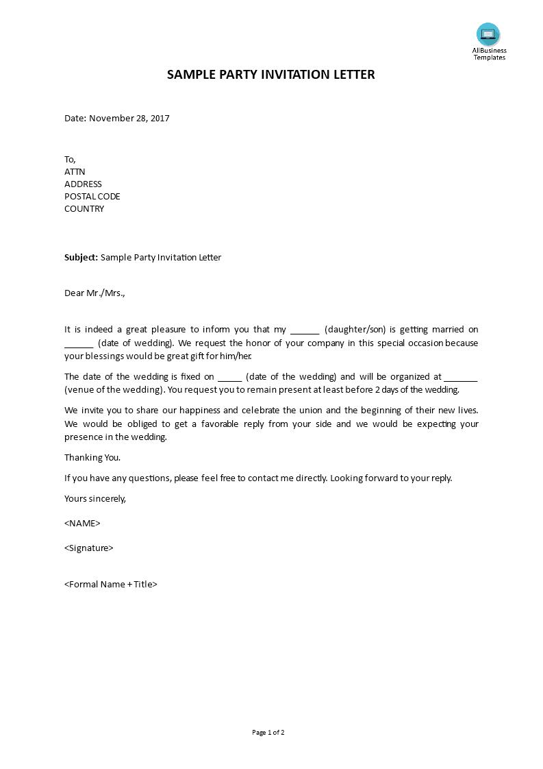 Kostenloses Party Invitation Letter