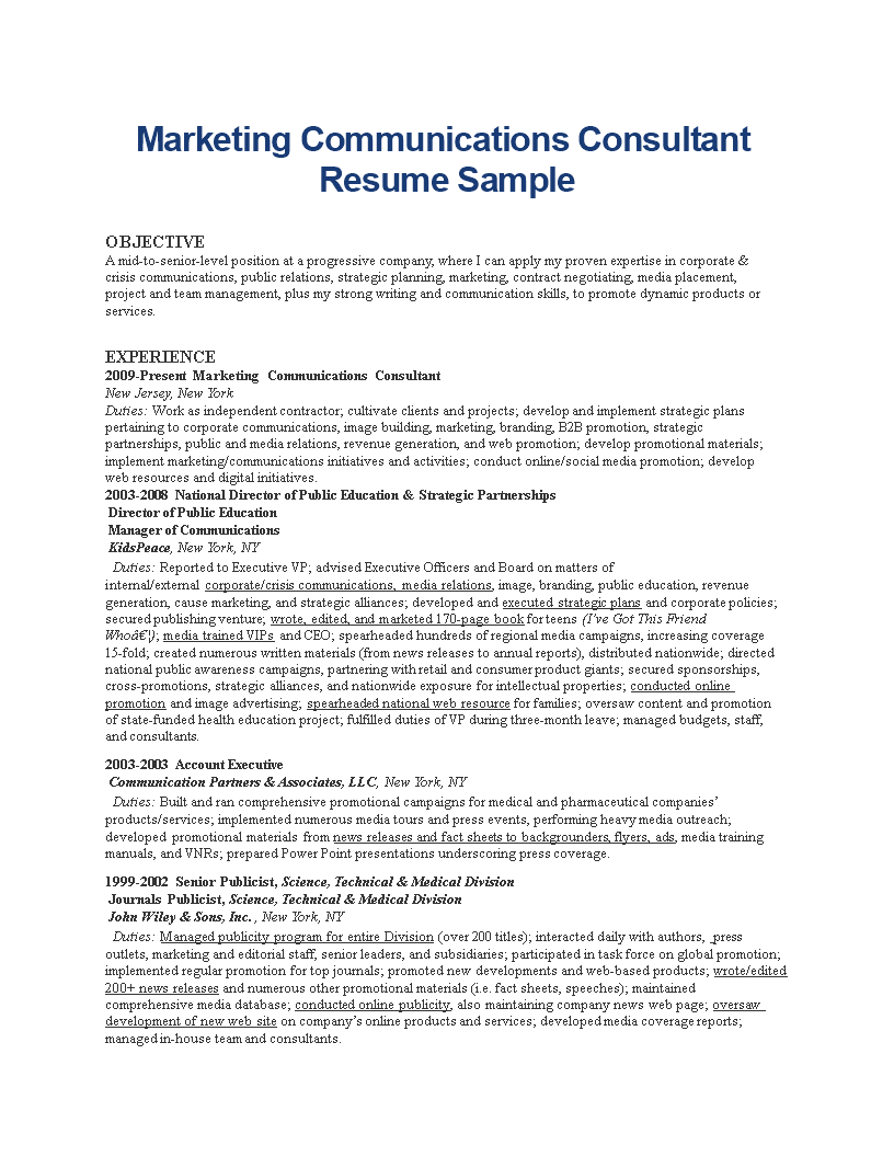 marketing communications consultant resume