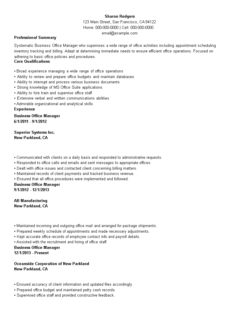 Business Office Manager Resume | Templates at ...