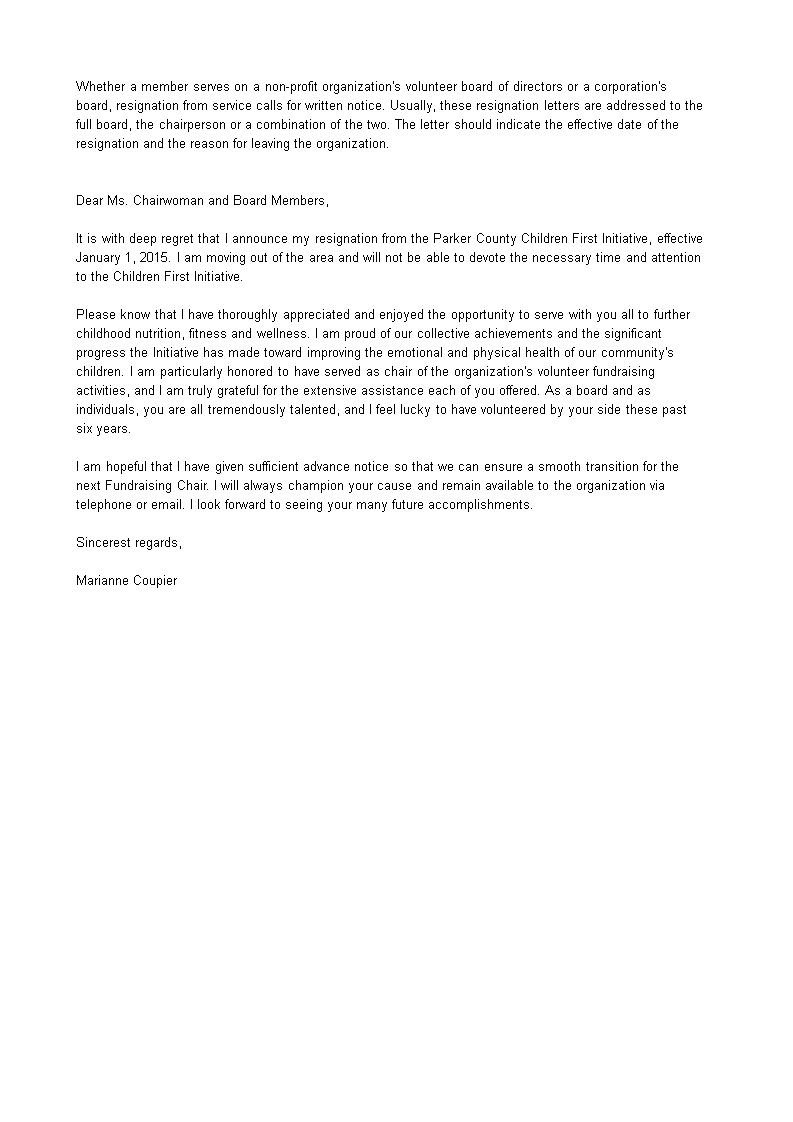 Sample Resignation Letter Board Of Directors Nonprofit from www.allbusinesstemplates.com
