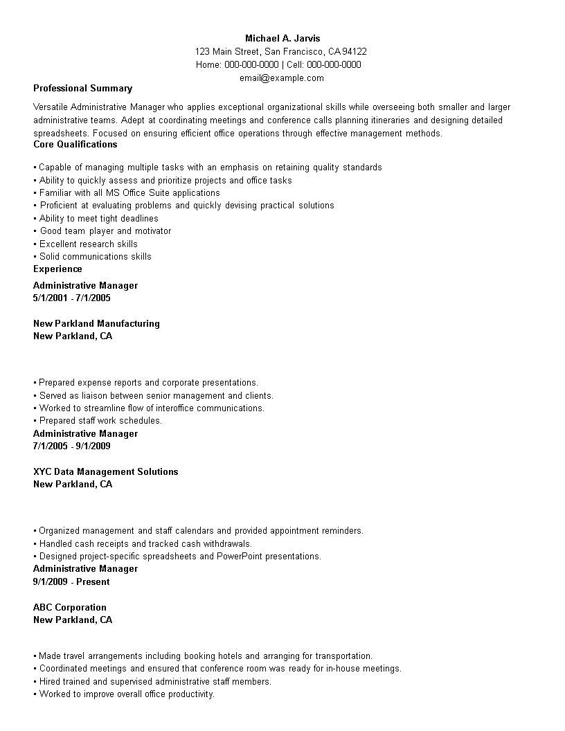 免费Business Administration Manager Resume | 样本文件在 ...