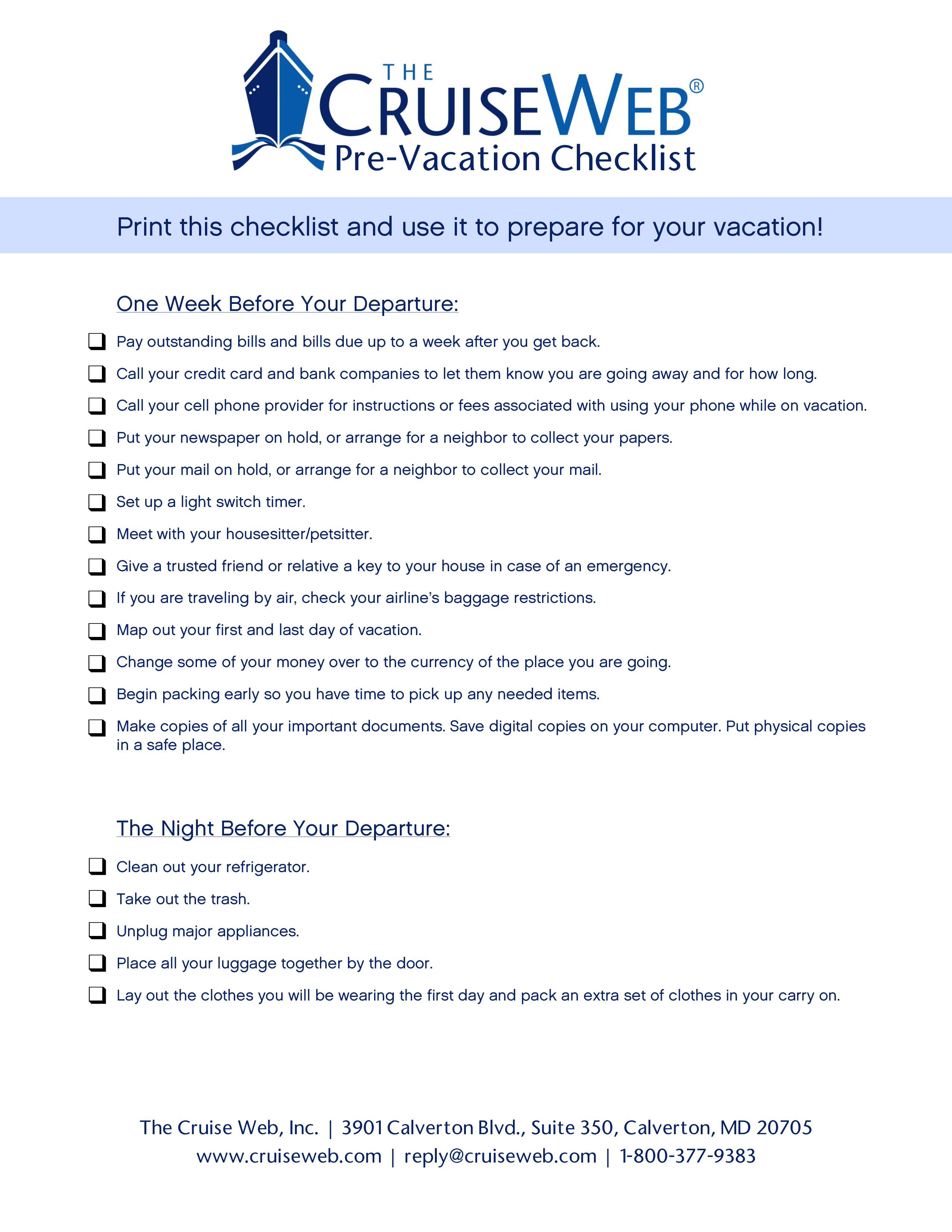 free cruise vacation checklist templates at