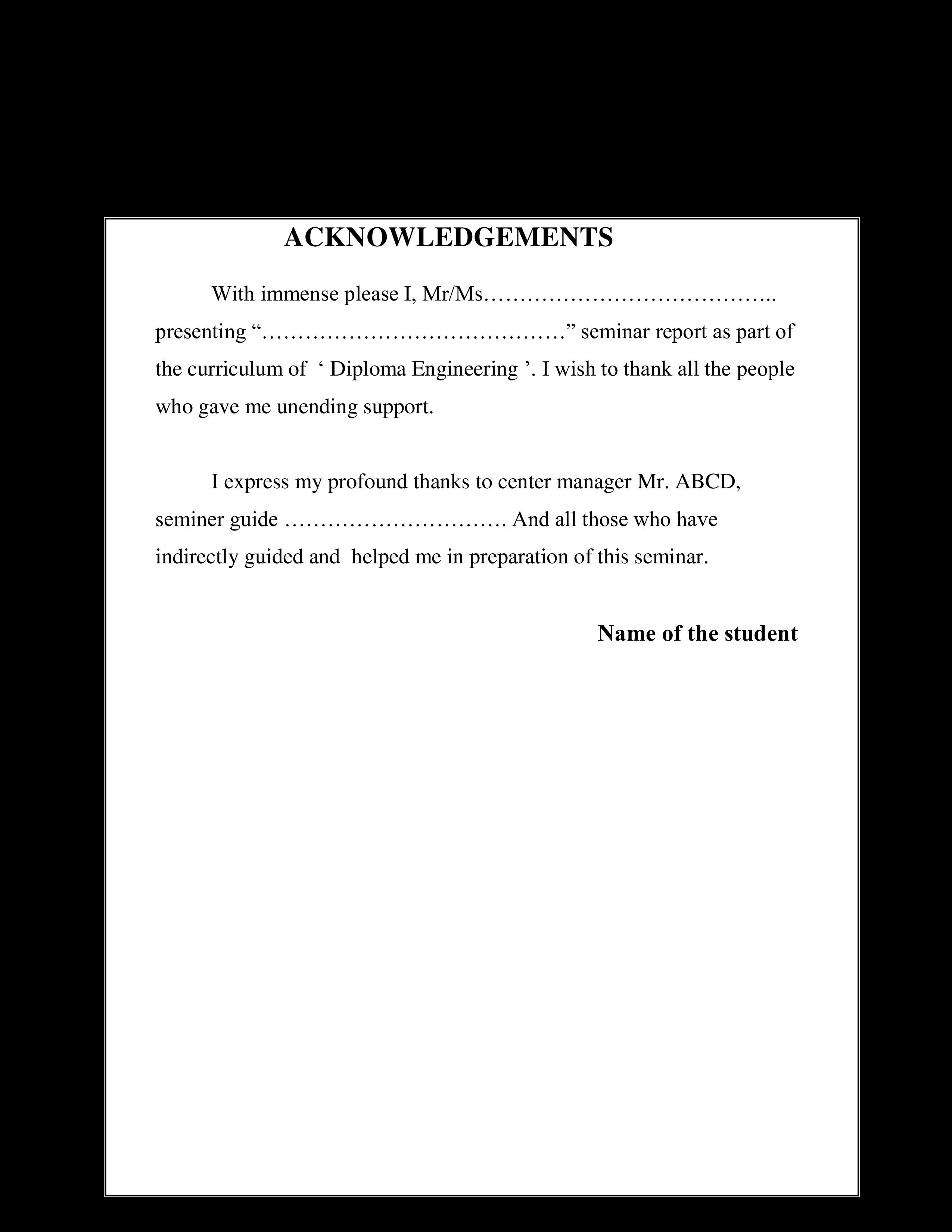Free Seminar Acknowledgement Report | Templates at ...