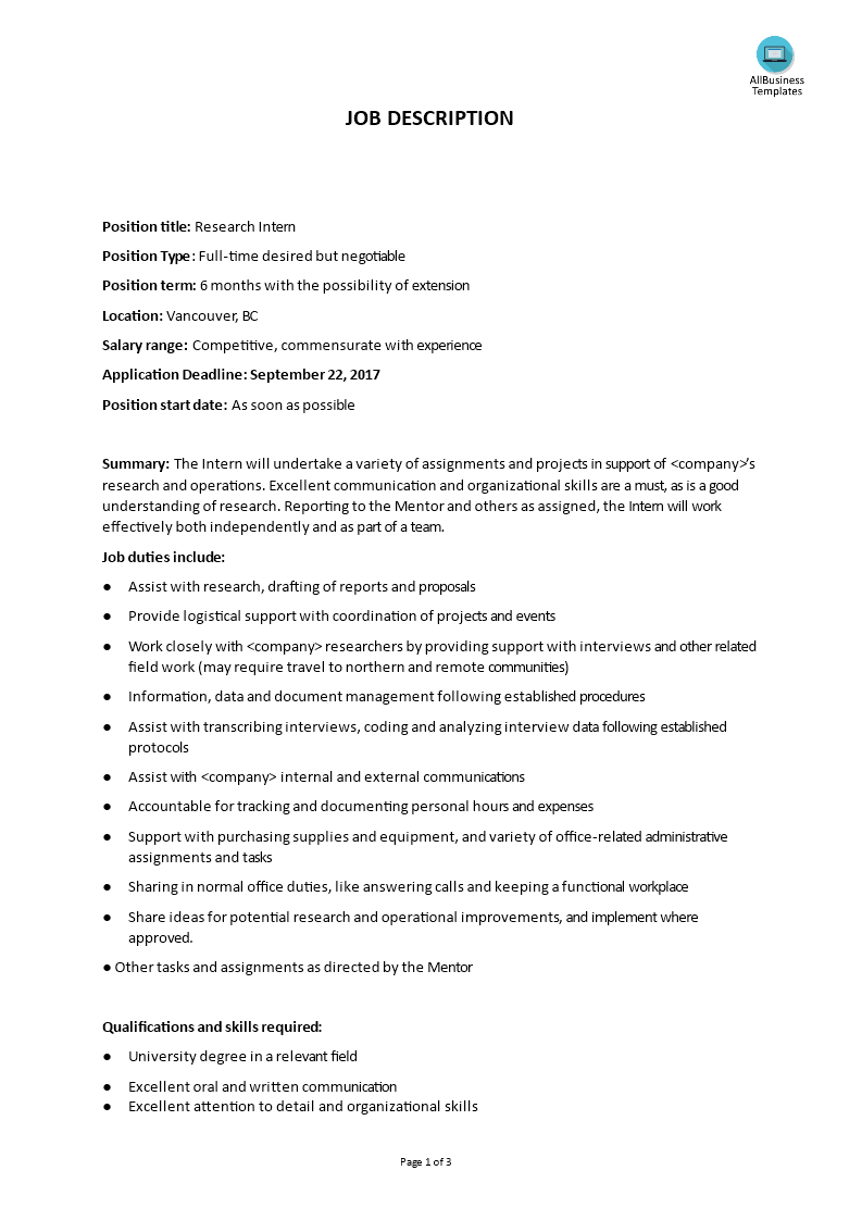 intern job description templates at