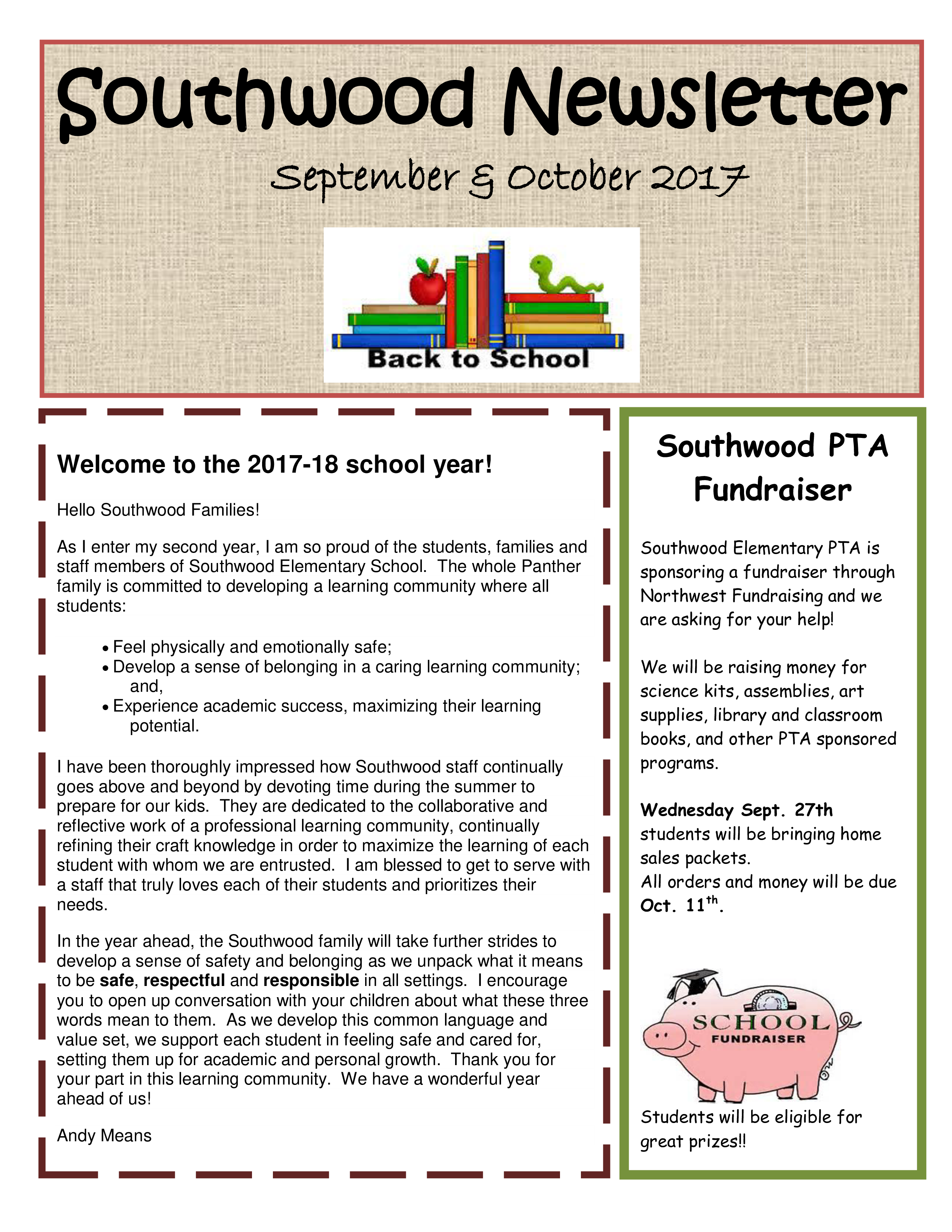 免费education back to school newsletter sample 样本文件在