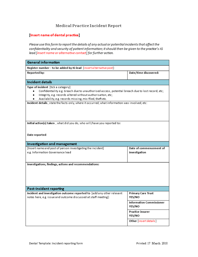 free medical practice incident report templates at