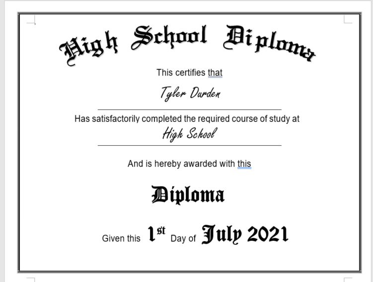 high school diploma edit main image