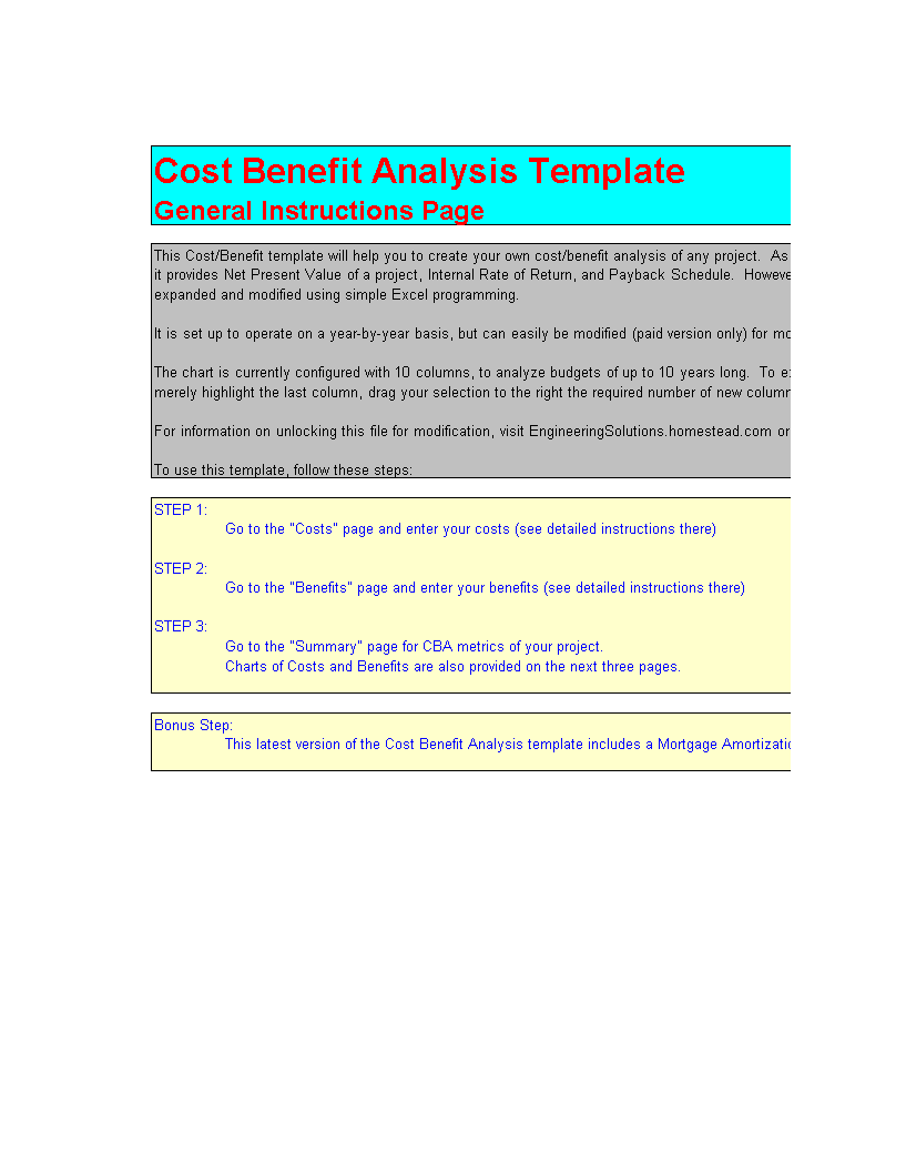 Cost Benefit Analysis With Amortization Calculator Templates