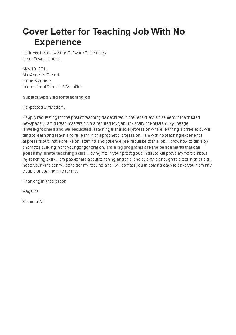 Teacher Without Experience Job Application Letter main image