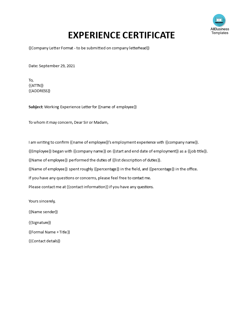 Experience Letter From Employer