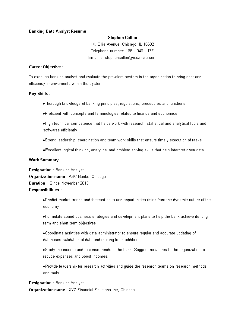 Free Banking Data Analyst Resume template Templates at