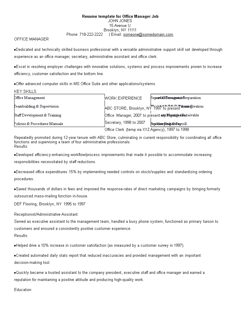 Free Office Manager Job Resume Templates At Allbusinesstemplates Com