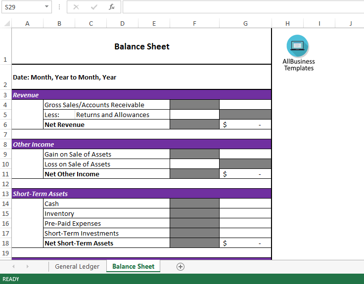 General Ledger Template | Free Balance Sheet And General Ledger Templates At