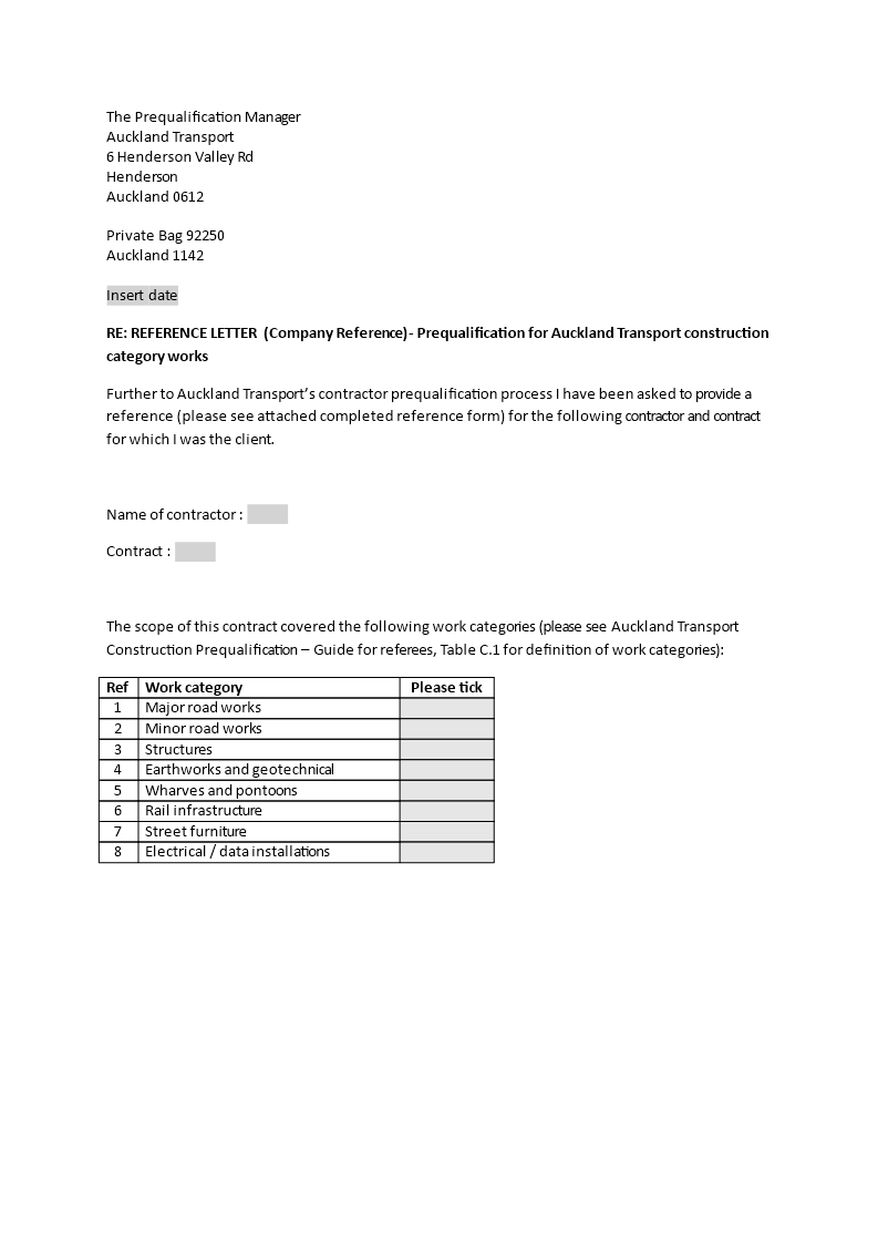 Free Business Construction Reference Letter Templates At