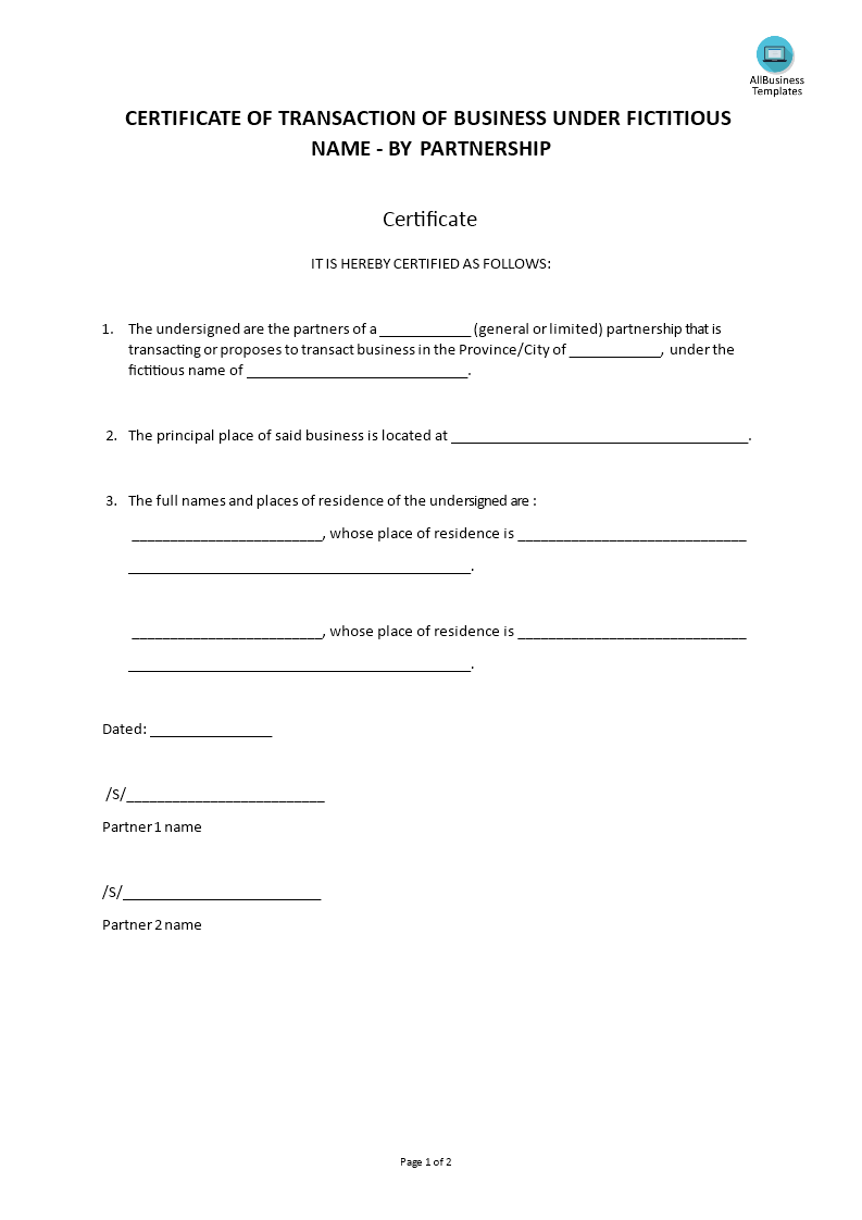 Fictitious Name Certificate Partnership Templates At