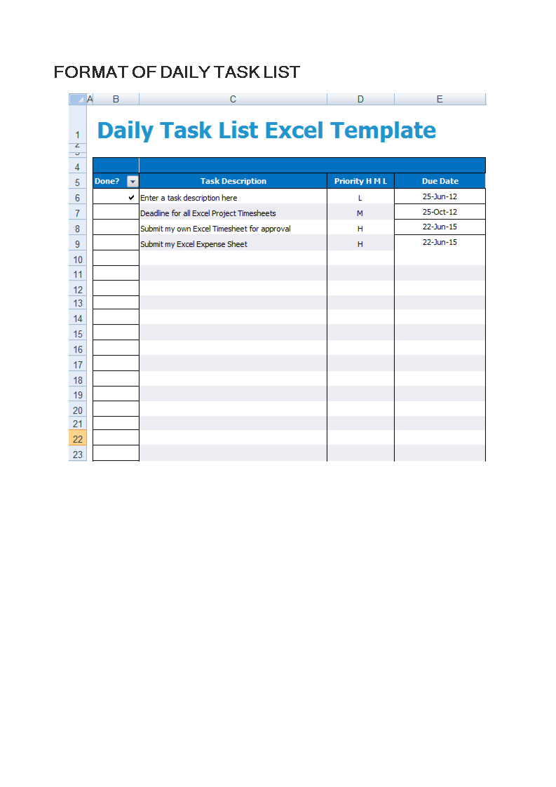 Free Daily Task List | Templates at allbusinesstemplates.com