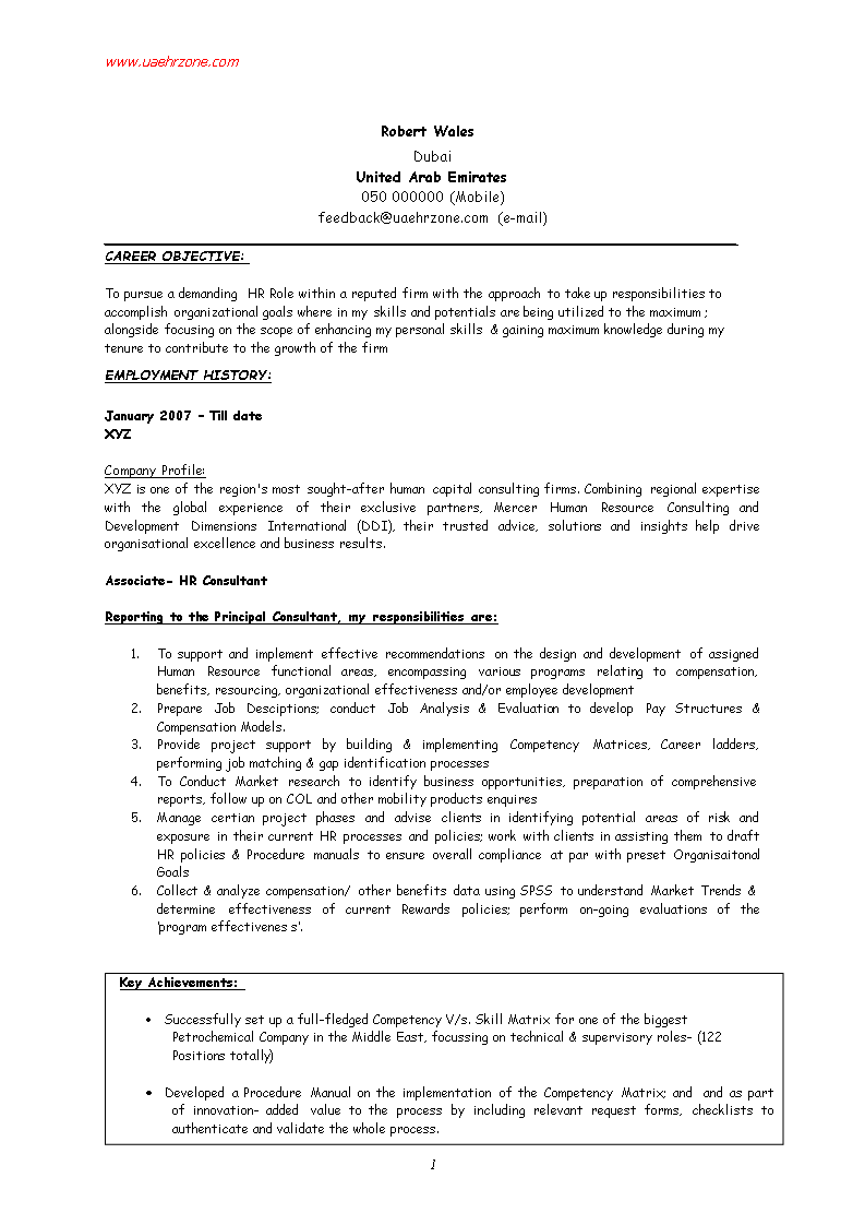 Free Hr Executive Fresher Resume Templates At Allbusinesstemplates Com