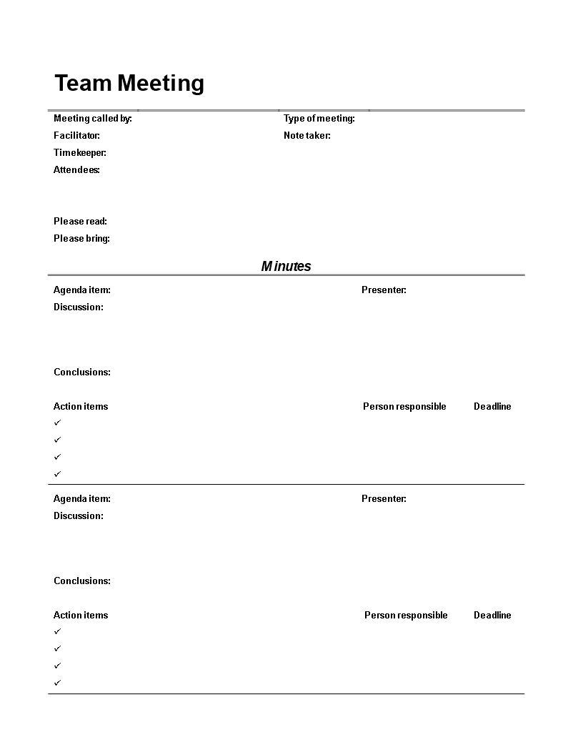 Team Meeting Minutes Template Main Image  Minutes Templates
