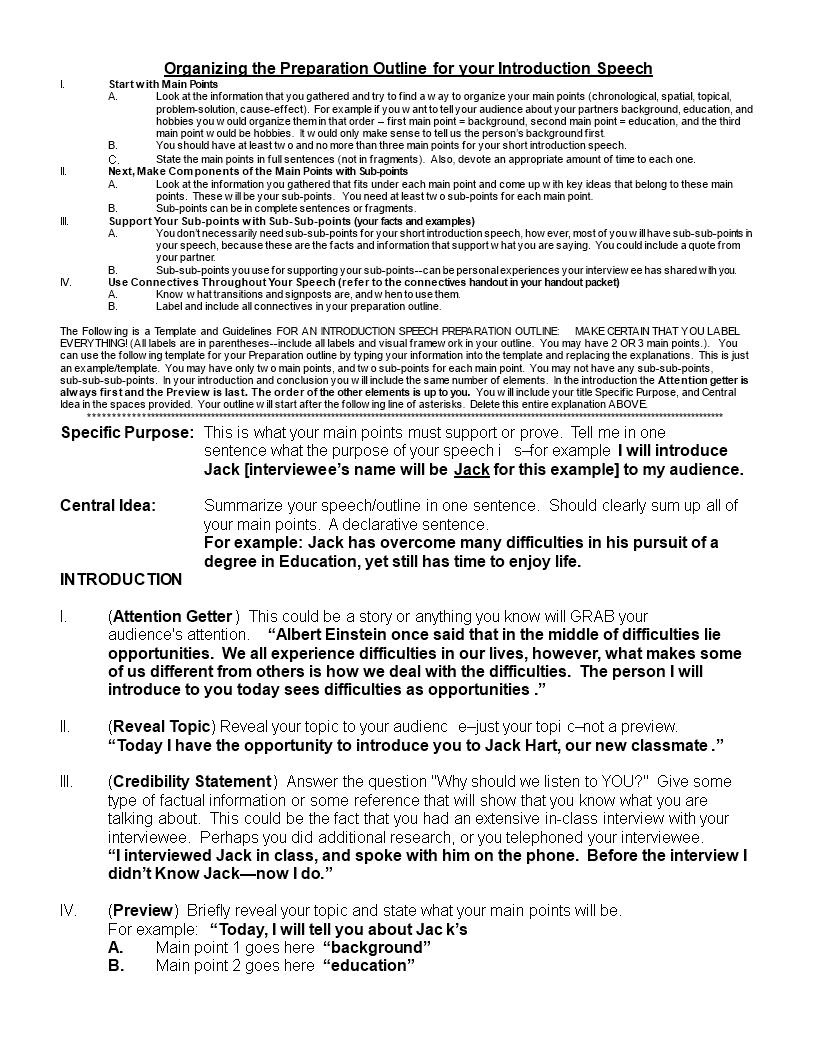 Free Example Speech outline | Templates at allbusinesstemplates.com